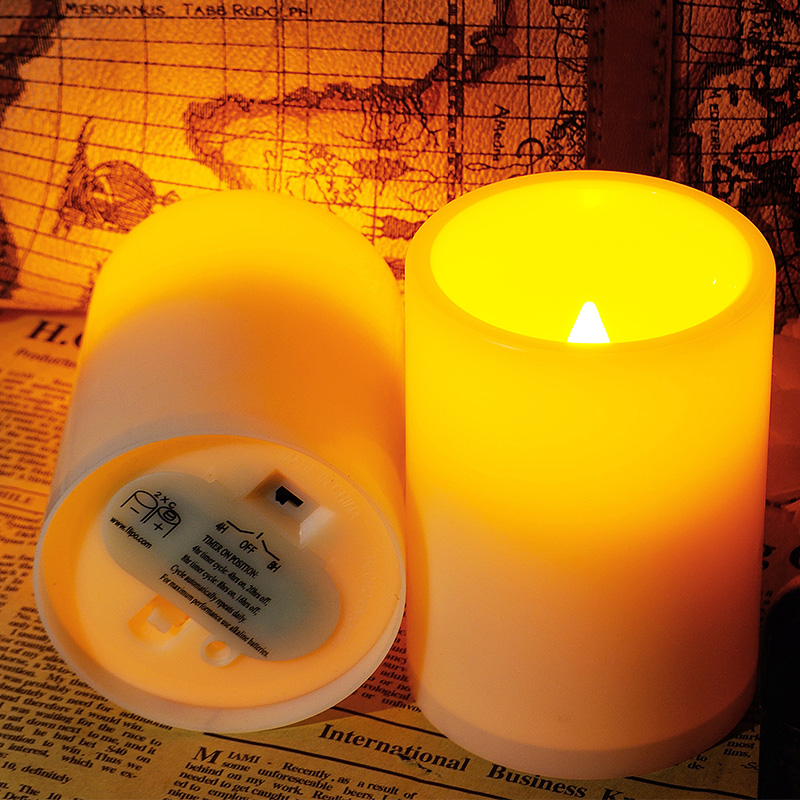 Flickering Flameless Resin Pillar Led Candle Lights W