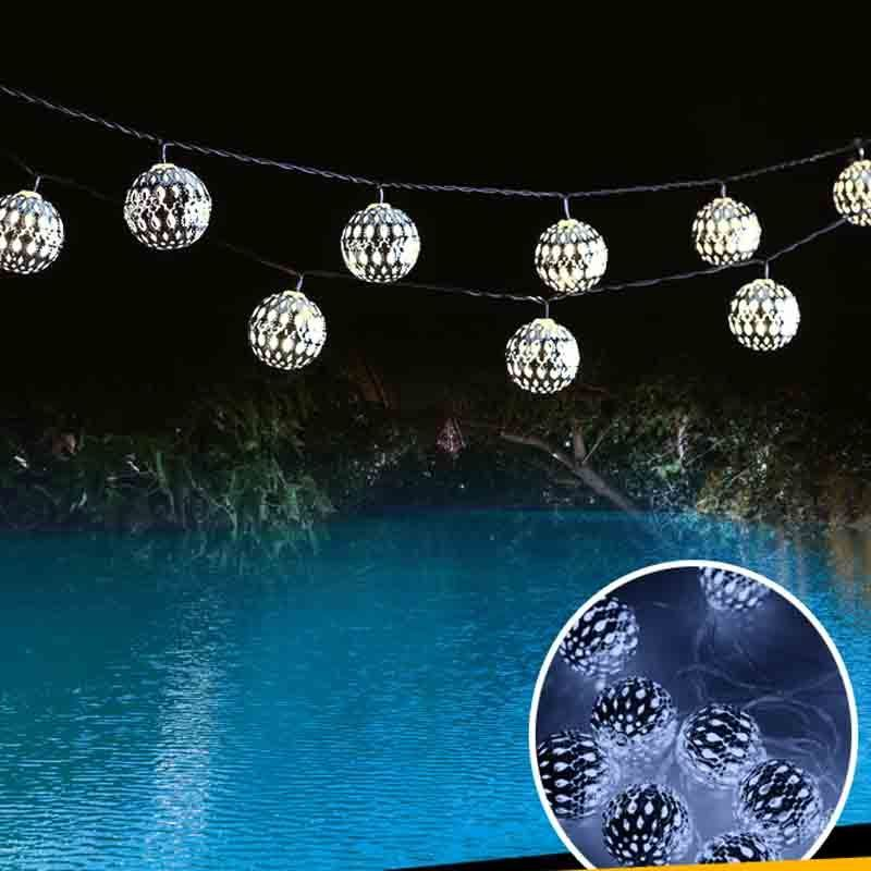 Solar String Lights Indoor : NEW Solar String Lights 10 LED Morocco Ball Style For Indoor or Outdoor Deco
