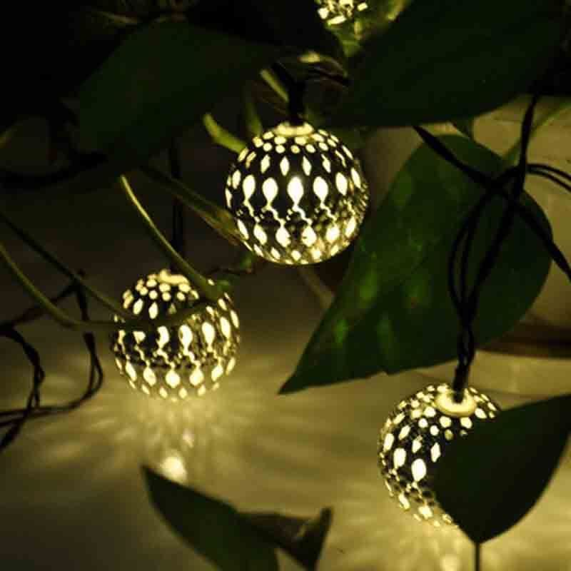 Ball String Lights Indoor : NEW Solar String Lights 10 LED Morocco Ball Style For Indoor or Outdoor Deco