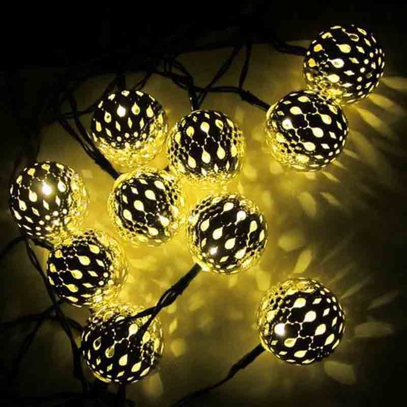 NEW Solar String Lights 10 LED Morocco Ball Style For Indoor or Outdoor Deco