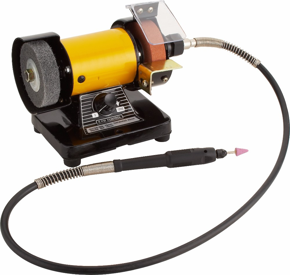 3 Mini Bench Grinder Polisher With Rotary Flexible Shaft Die Carving Set 220v Ebay