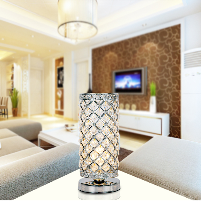 decorative crystal silver table lamp bedroom living room desk light