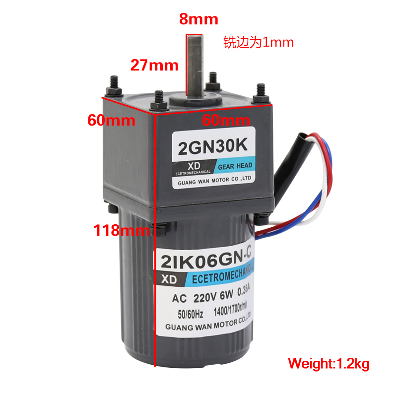 AC 220V 6W 2IK06GN-C Constant Speed Single Phase Gear Reducer Motor