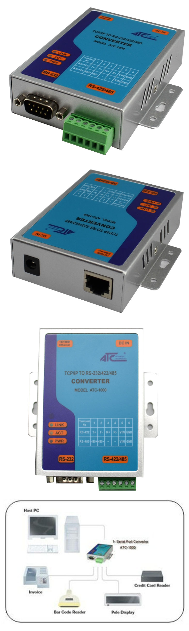 Atc 1000 tcpip ethernet to serial rs232 rs485 rs422 converter 893535419801 sciox Images