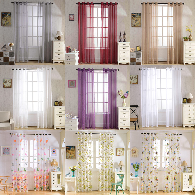 Details about 2 Panels Grommet Textured Solid Semi-Sheer Curtains for  Bedroom Window Treatment